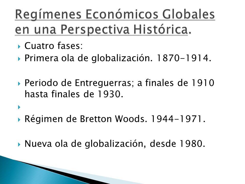  Cuatro fases:  Primera ola de globalización. 1870-1914.