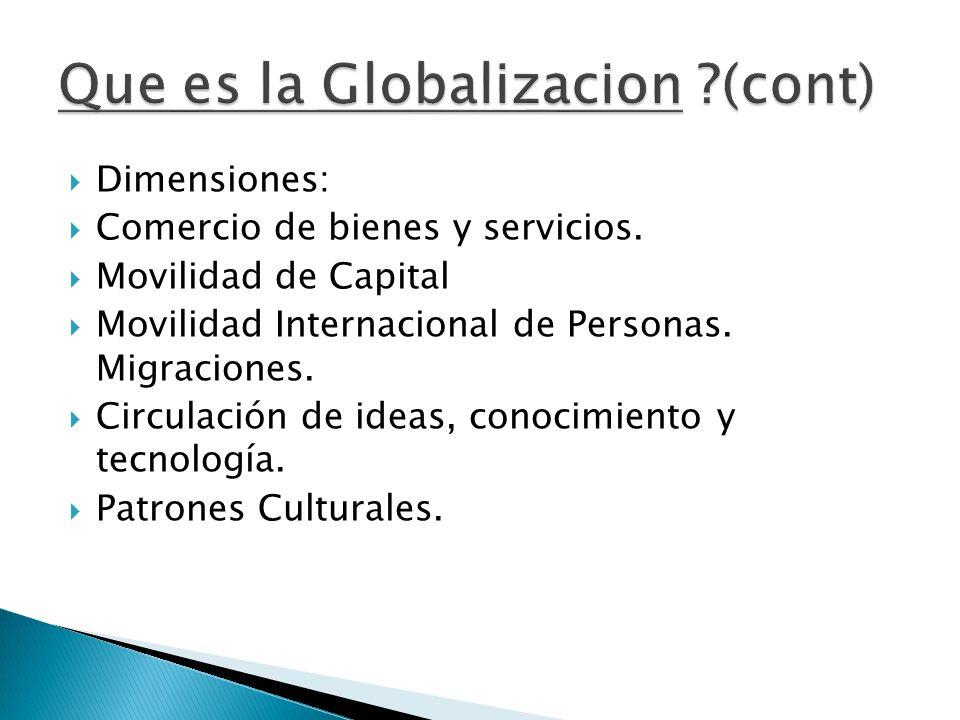  Dimensiones:  Comercio de bienes y servicios.