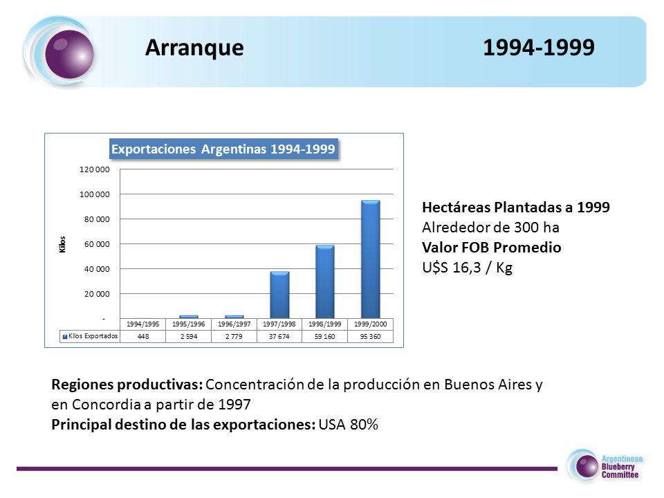 Arranque 1994-1999 Regiones productivas: Concentración de la producción en Buenos Aires y en Concordia a partir de 1997 Principal destino de las exportaciones: USA 80% Hectáreas Plantadas a 1999 Alrededor de 300 ha Valor FOB Promedio U$S 16,3 / Kg
