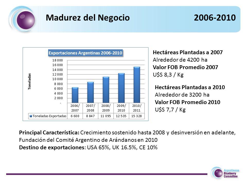 Madurez del Negocio2006-2010 Hectáreas Plantadas a 2007 Alrededor de 4200 ha Valor FOB Promedio 2007 U$S 8,3 / Kg Principal Característica: Crecimiento sostenido hasta 2008 y desinversión en adelante, Fundación del Comité Argentino de Arándanos en 2010 Destino de exportaciones: USA 65%, UK 16.5%, CE 10% Hectáreas Plantadas a 2010 Alrededor de 3200 ha Valor FOB Promedio 2010 U$S 7,7 / Kg