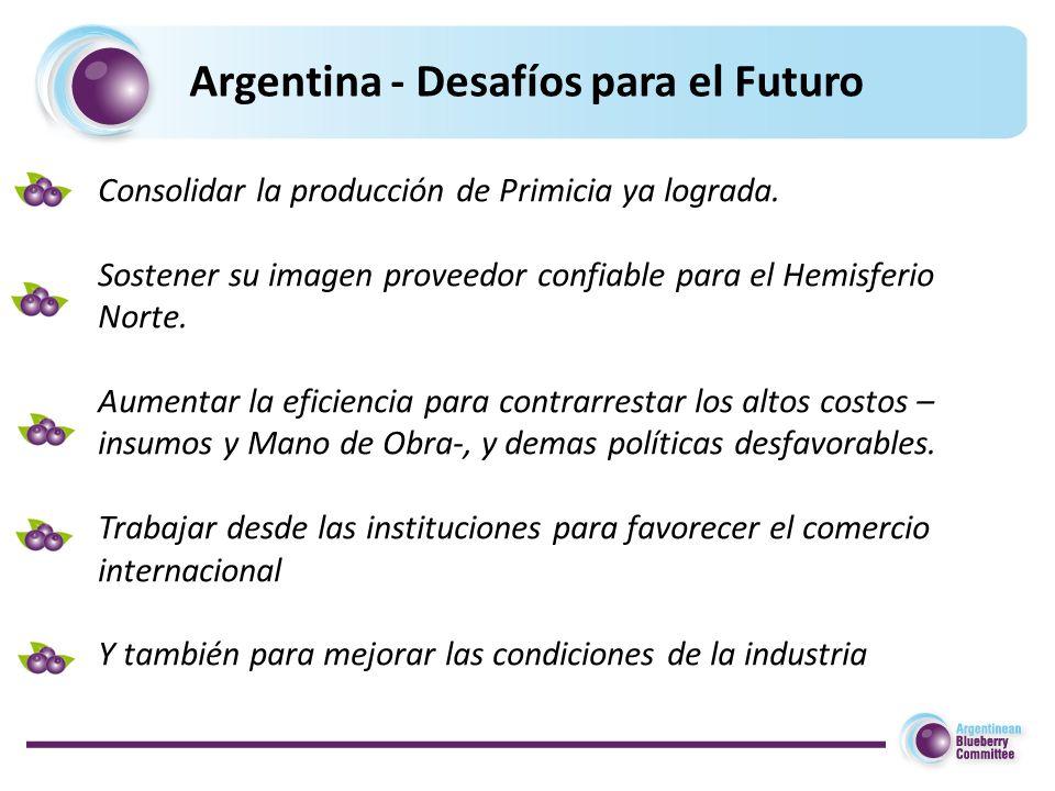 Argentina - Desafíos para el Futuro Consolidar la producción de Primicia ya lograda.