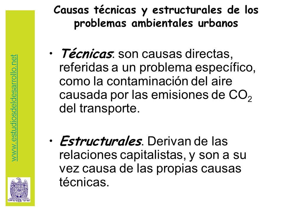 Causas técnicas y estructurales de los problemas ambientales urbanos Técnicas : son causas directas, referidas a un problema específico, como la contaminación del aire causada por las emisiones de CO 2 del transporte.