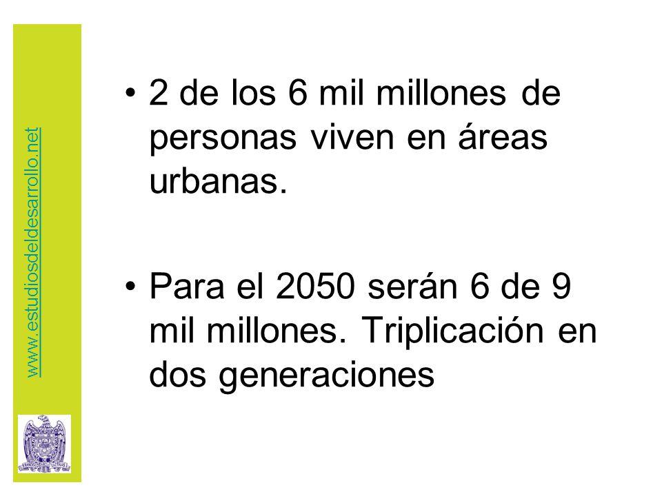 2 de los 6 mil millones de personas viven en áreas urbanas.
