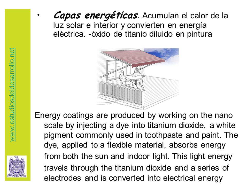 Capas energéticas. Acumulan el calor de la luz solar e interior y convierten en energía eléctrica.