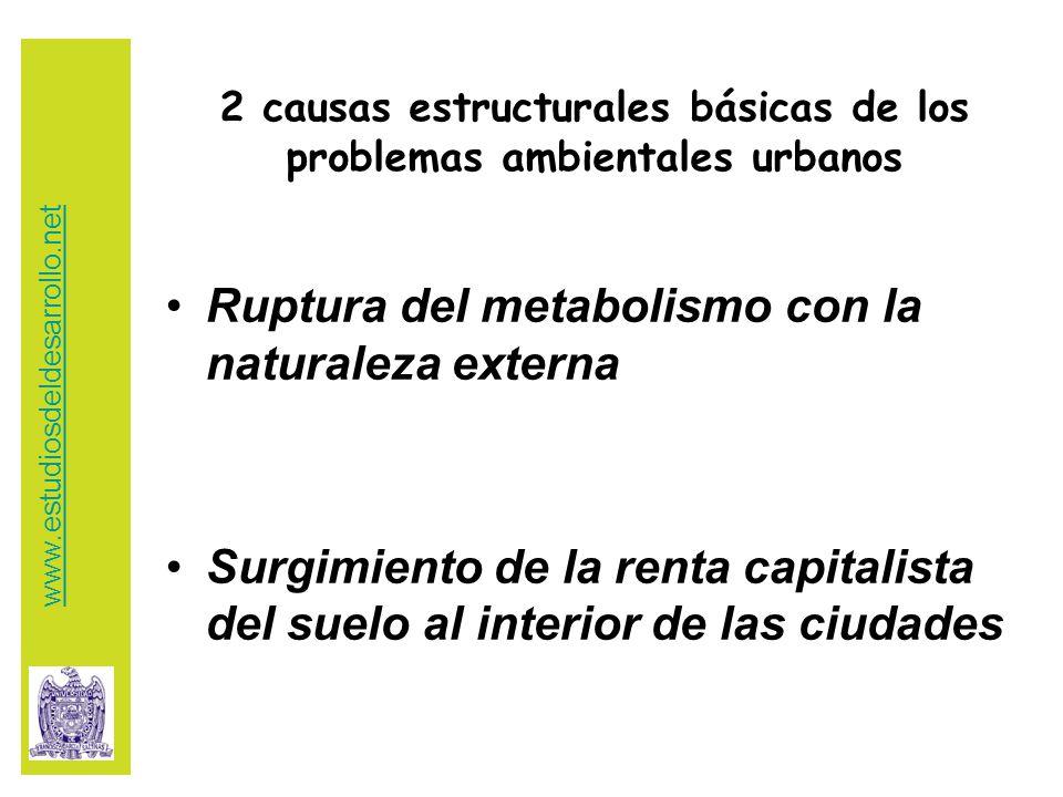 2 causas estructurales básicas de los problemas ambientales urbanos Ruptura del metabolismo con la naturaleza externa Surgimiento de la renta capitalista del suelo al interior de las ciudades www.estudiosdeldesarrollo.net