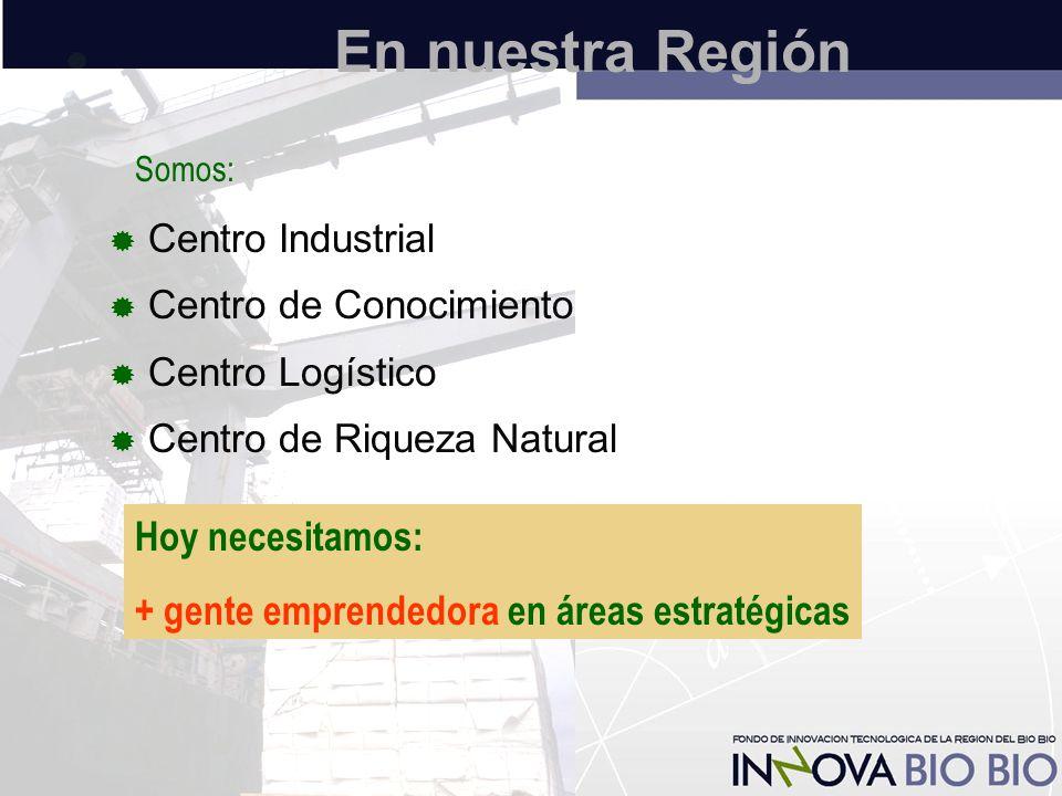 En nuestra Región  Centro Industrial  Centro de Conocimiento  Centro Logístico  Centro de Riqueza Natural Somos: Hoy necesitamos: + gente emprendedora en áreas estratégicas