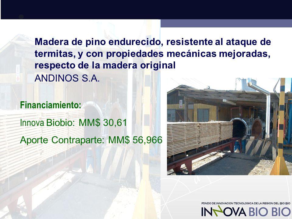 Madera de pino endurecido, resistente al ataque de termitas, y con propiedades mecánicas mejoradas, respecto de la madera original ANDINOS S.A.