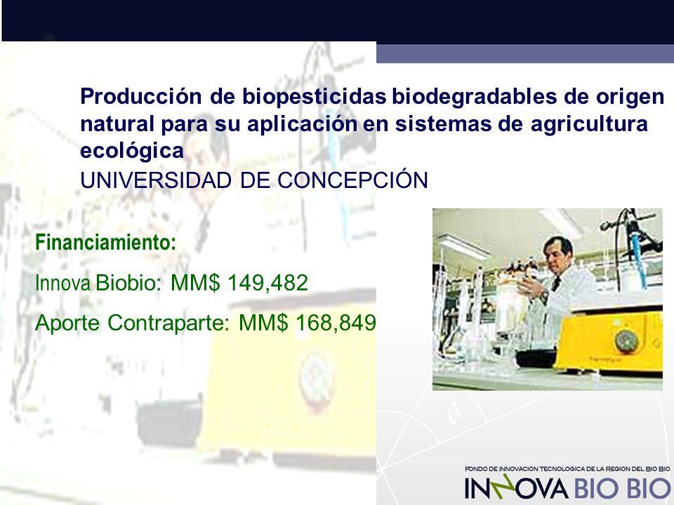 Producción de biopesticidas biodegradables de origen natural para su aplicación en sistemas de agricultura ecológica UNIVERSIDAD DE CONCEPCIÓN Financiamiento: Innova Biobio: MM$ 149,482 Aporte Contraparte: MM$ 168,849