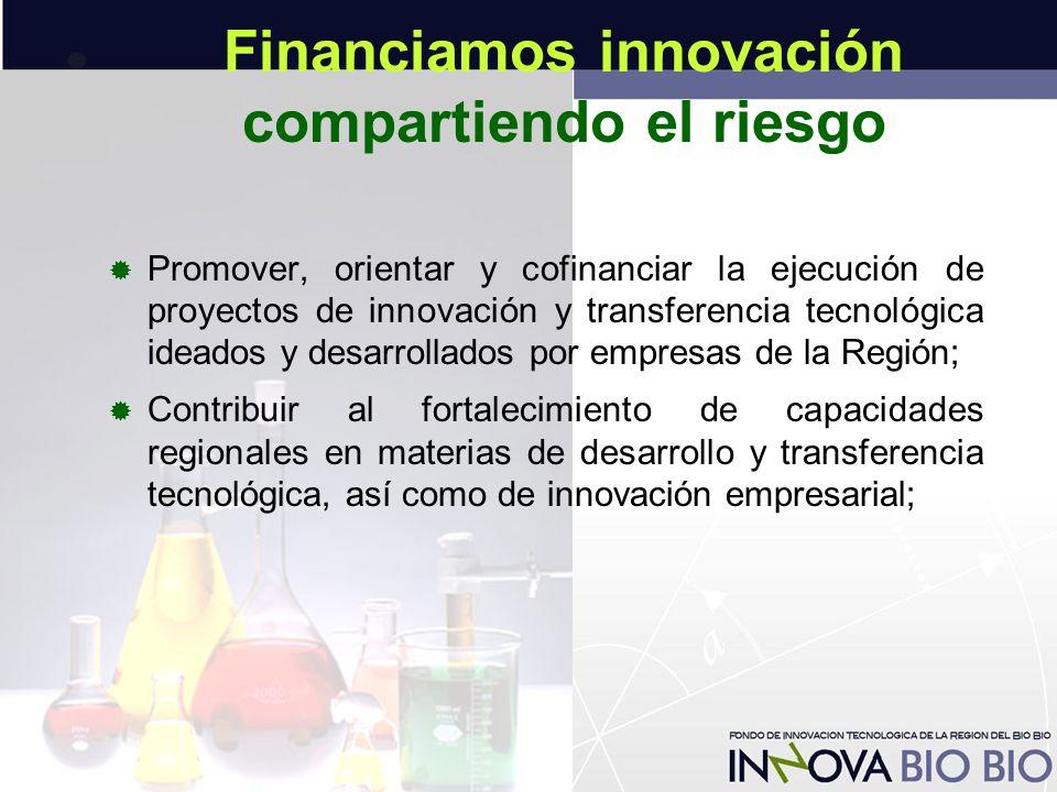 Financiamos innovación compartiendo el riesgo  Promover, orientar y cofinanciar la ejecución de proyectos de innovación y transferencia tecnológica ideados y desarrollados por empresas de la Región;  Contribuir al fortalecimiento de capacidades regionales en materias de desarrollo y transferencia tecnológica, así como de innovación empresarial;