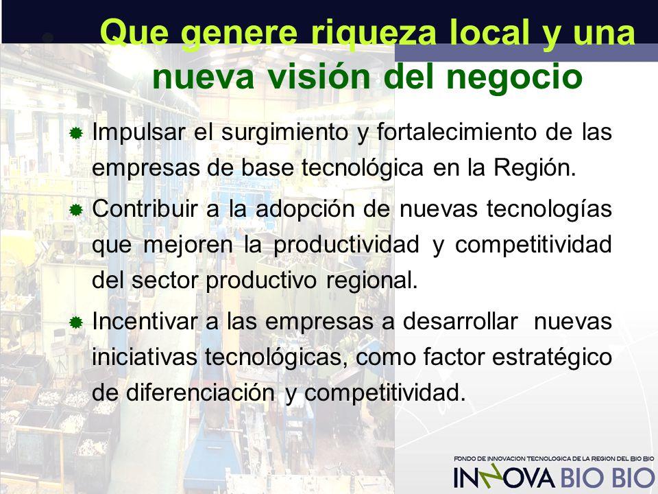 Que genere riqueza local y una nueva visión del negocio  Impulsar el surgimiento y fortalecimiento de las empresas de base tecnológica en la Región.