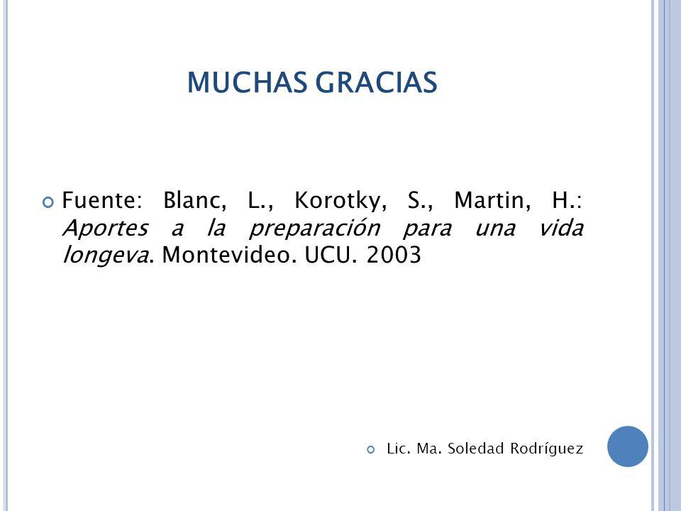 MUCHAS GRACIAS Fuente: Blanc, L., Korotky, S., Martin, H.: Aportes a la preparación para una vida longeva.