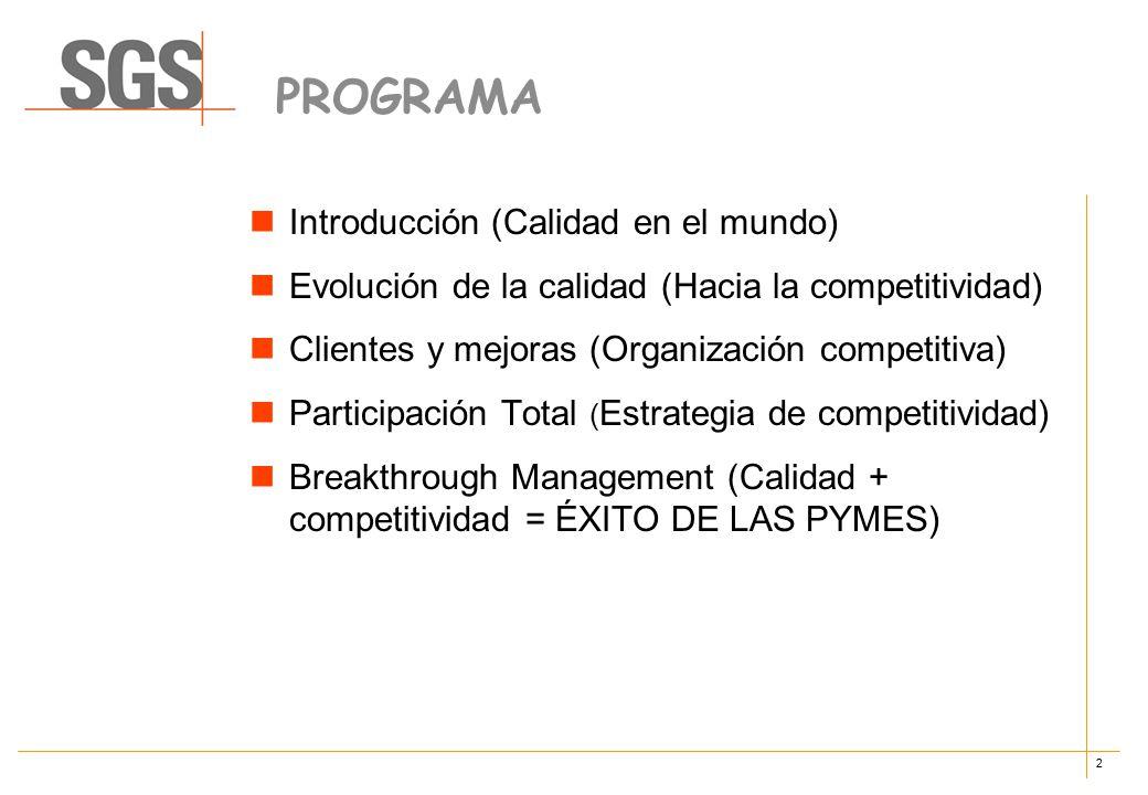 2 PROGRAMA Introducción (Calidad en el mundo) Evolución de la calidad (Hacia la competitividad) Clientes y mejoras (Organización competitiva) Participación Total ( Estrategia de competitividad) Breakthrough Management (Calidad + competitividad = ÉXITO DE LAS PYMES)