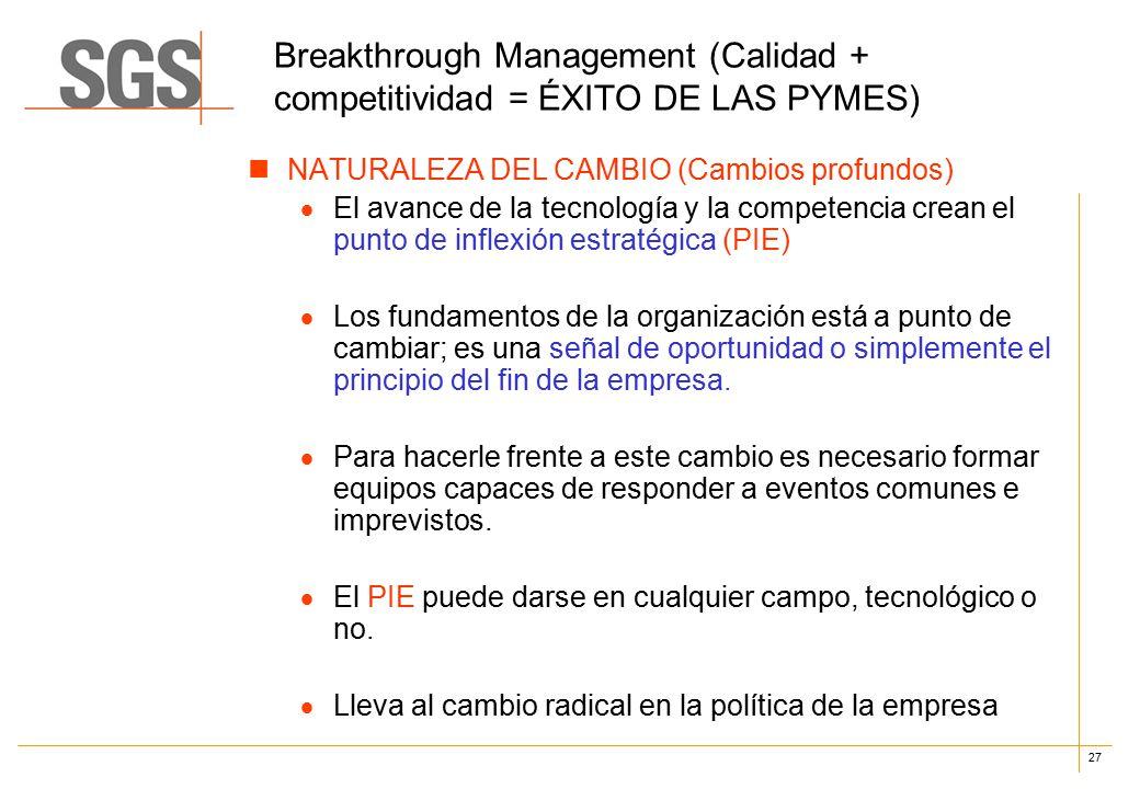 27 Breakthrough Management (Calidad + competitividad = ÉXITO DE LAS PYMES) NATURALEZA DEL CAMBIO (Cambios profundos)  El avance de la tecnología y la competencia crean el punto de inflexión estratégica (PIE)  Los fundamentos de la organización está a punto de cambiar; es una señal de oportunidad o simplemente el principio del fin de la empresa.