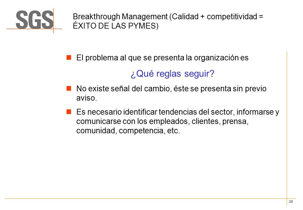 28 Breakthrough Management (Calidad + competitividad = ÉXITO DE LAS PYMES) El problema al que se presenta la organización es ¿Qué reglas seguir.