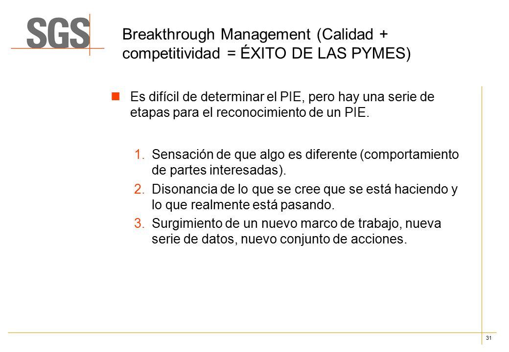 31 Breakthrough Management (Calidad + competitividad = ÉXITO DE LAS PYMES) Es difícil de determinar el PIE, pero hay una serie de etapas para el reconocimiento de un PIE.