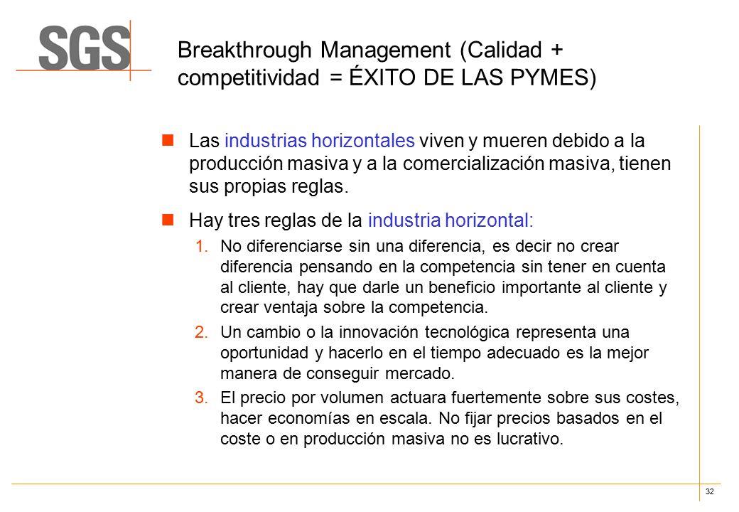 32 Breakthrough Management (Calidad + competitividad = ÉXITO DE LAS PYMES) Las industrias horizontales viven y mueren debido a la producción masiva y a la comercialización masiva, tienen sus propias reglas.