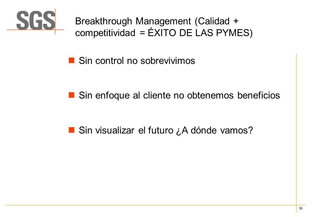 36 Breakthrough Management (Calidad + competitividad = ÉXITO DE LAS PYMES) Sin control no sobrevivimos Sin enfoque al cliente no obtenemos beneficios Sin visualizar el futuro ¿A dónde vamos