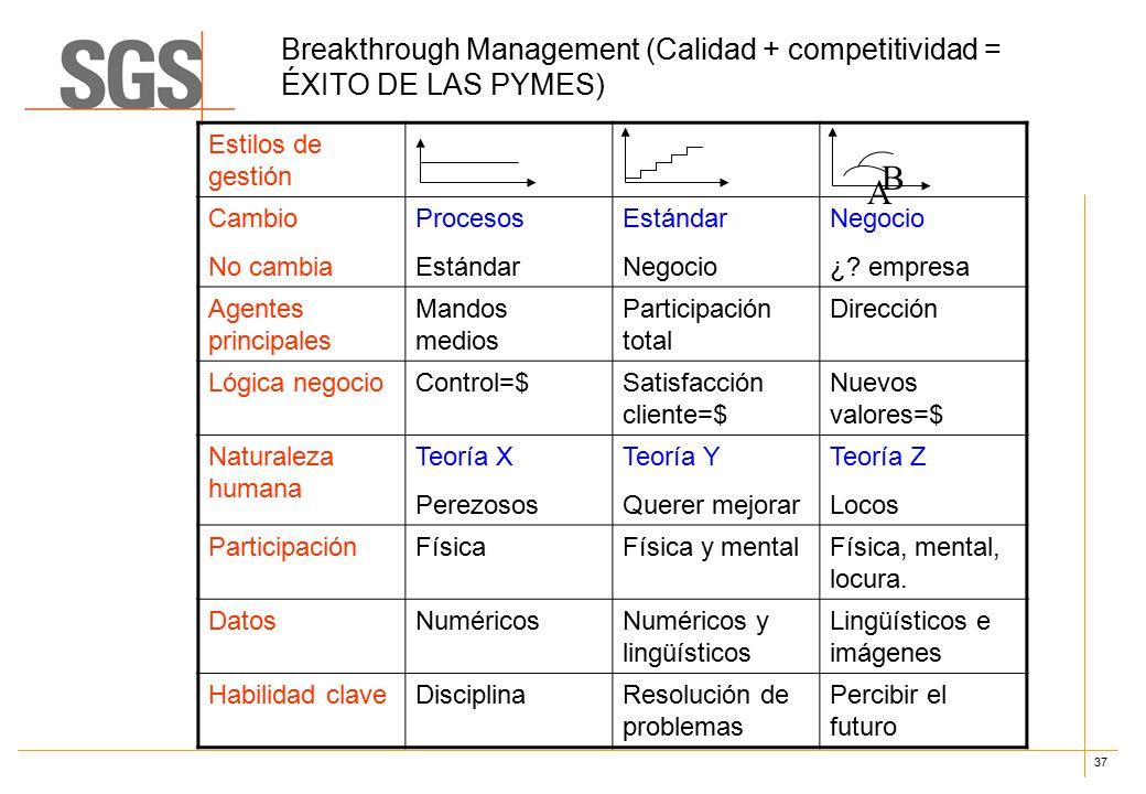 37 Breakthrough Management (Calidad + competitividad = ÉXITO DE LAS PYMES) Estilos de gestión Cambio No cambia Procesos Estándar Negocio ¿.