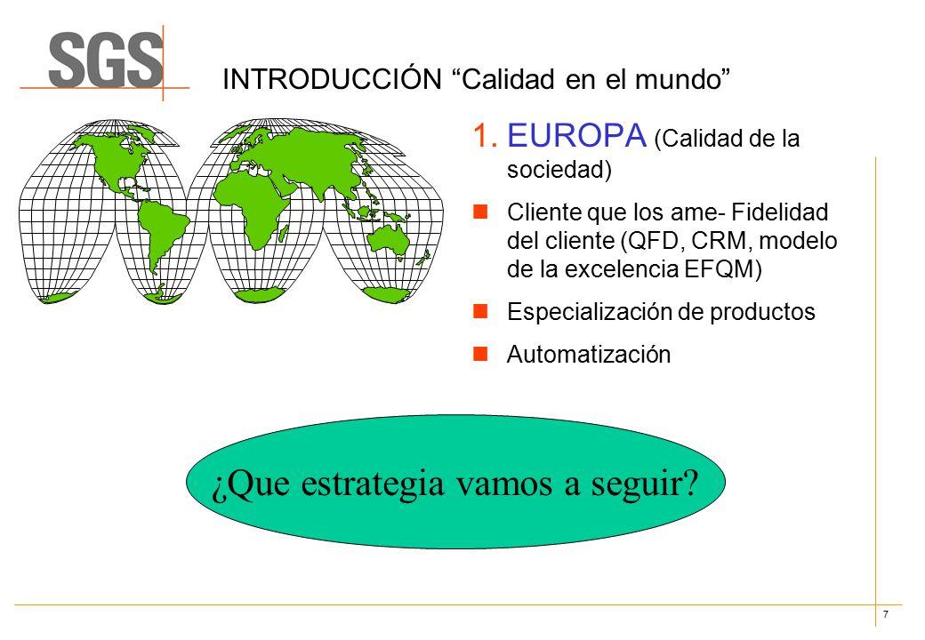 7 INTRODUCCIÓN Calidad en el mundo 1.EUROPA (Calidad de la sociedad) Cliente que los ame- Fidelidad del cliente (QFD, CRM, modelo de la excelencia EFQM) Especialización de productos Automatización ¿Que estrategia vamos a seguir