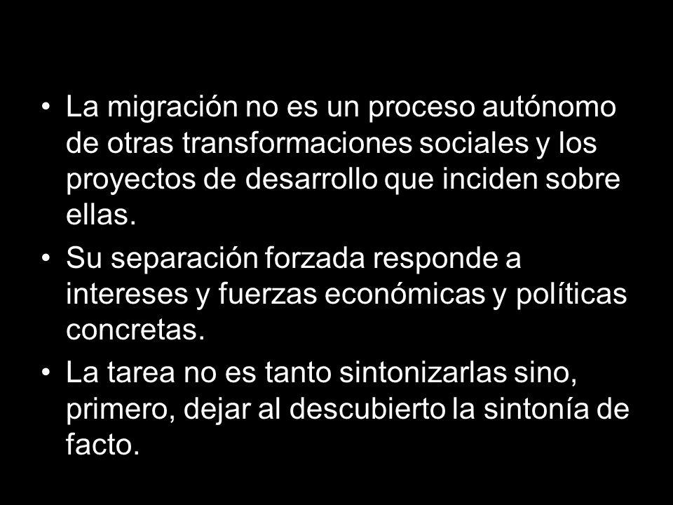 L La migración no es un proceso autónomo de otras transformaciones sociales y los proyectos de desarrollo que inciden sobre ellas.
