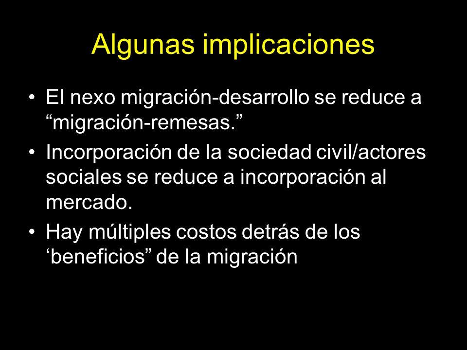 Algunas implicaciones El nexo migración-desarrollo se reduce a migración-remesas. Incorporación de la sociedad civil/actores sociales se reduce a incorporación al mercado.