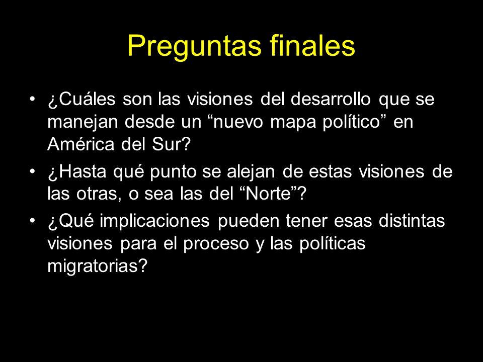 Preguntas finales ¿Cuáles son las visiones del desarrollo que se manejan desde un nuevo mapa político en América del Sur.