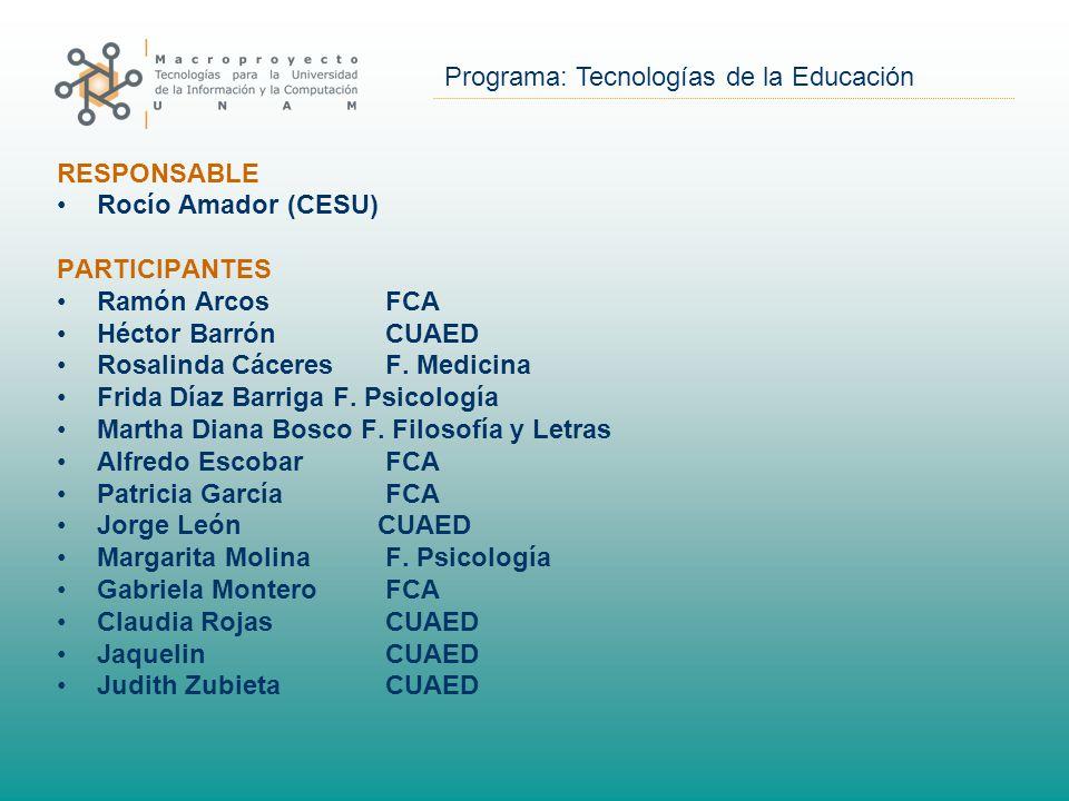 Programa: Tecnologías de la Educación RESPONSABLE Rocío Amador (CESU) PARTICIPANTES Ramón Arcos FCA Héctor Barrón CUAED Rosalinda Cáceres F.