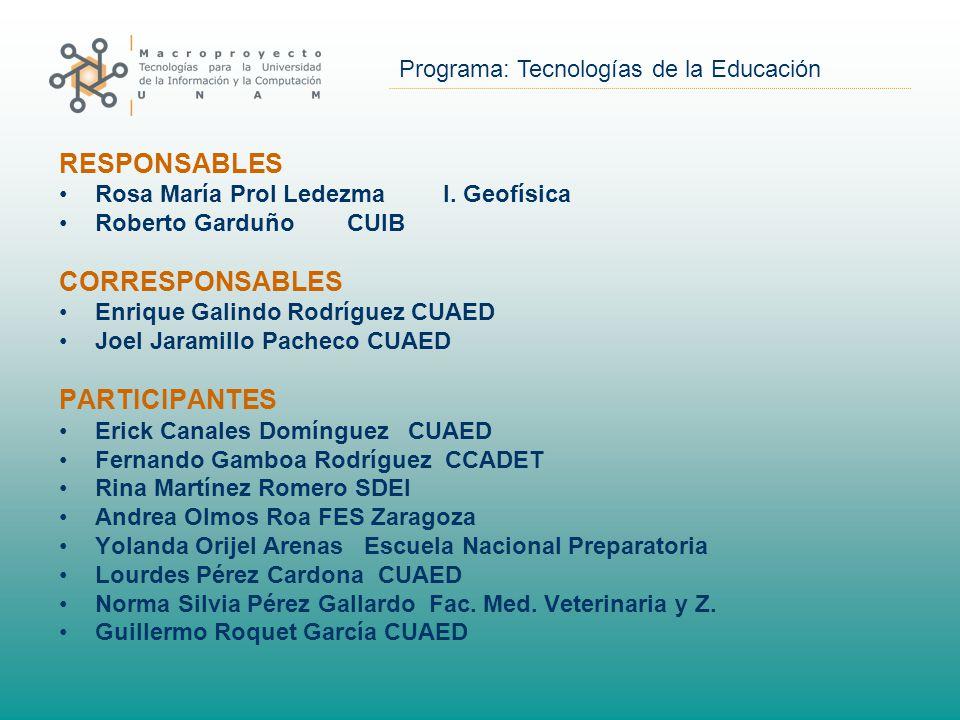 Programa: Tecnologías de la Educación RESPONSABLES Rosa María Prol LedezmaI.
