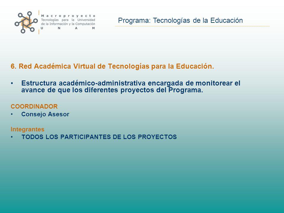 Programa: Tecnologías de la Educación 6. Red Académica Virtual de Tecnologías para la Educación.