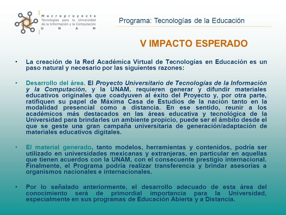 Programa: Tecnologías de la Educación La creación de la Red Académica Virtual de Tecnologías en Educación es un paso natural y necesario por las siguientes razones: Desarrollo del área.