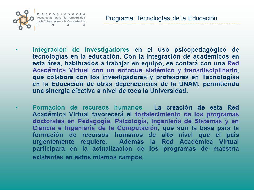 Programa: Tecnologías de la Educación Integración de investigadores en el uso psicopedagógico de tecnologías en la educación.