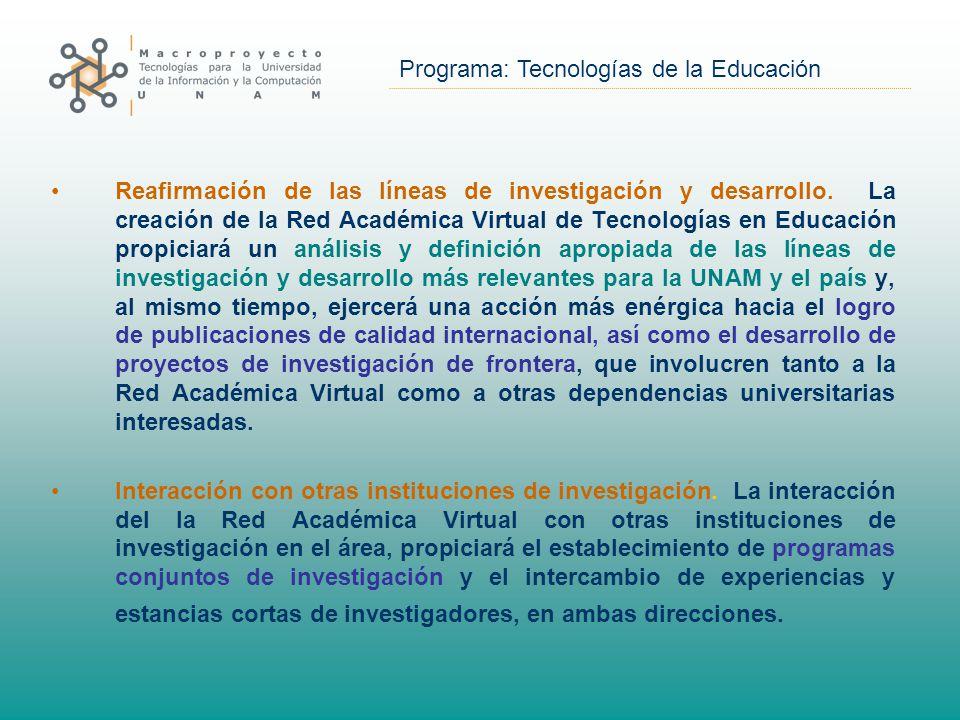 Programa: Tecnologías de la Educación Reafirmación de las líneas de investigación y desarrollo.