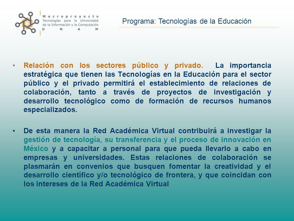 Programa: Tecnologías de la Educación Relación con los sectores público y privado.