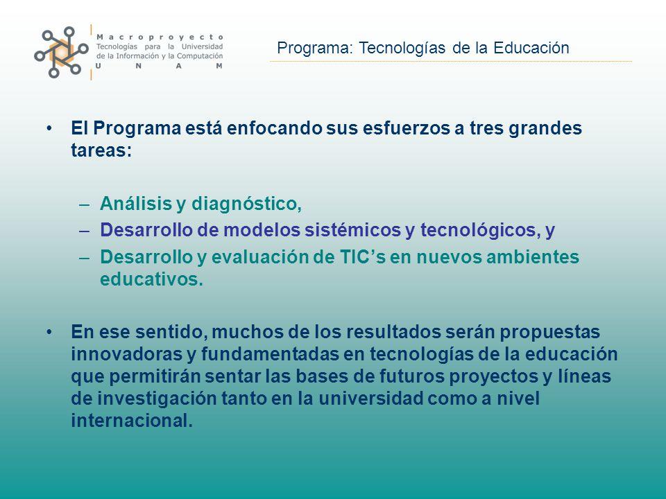 Programa: Tecnologías de la Educación El Programa está enfocando sus esfuerzos a tres grandes tareas: –Análisis y diagnóstico, –Desarrollo de modelos sistémicos y tecnológicos, y –Desarrollo y evaluación de TIC's en nuevos ambientes educativos.