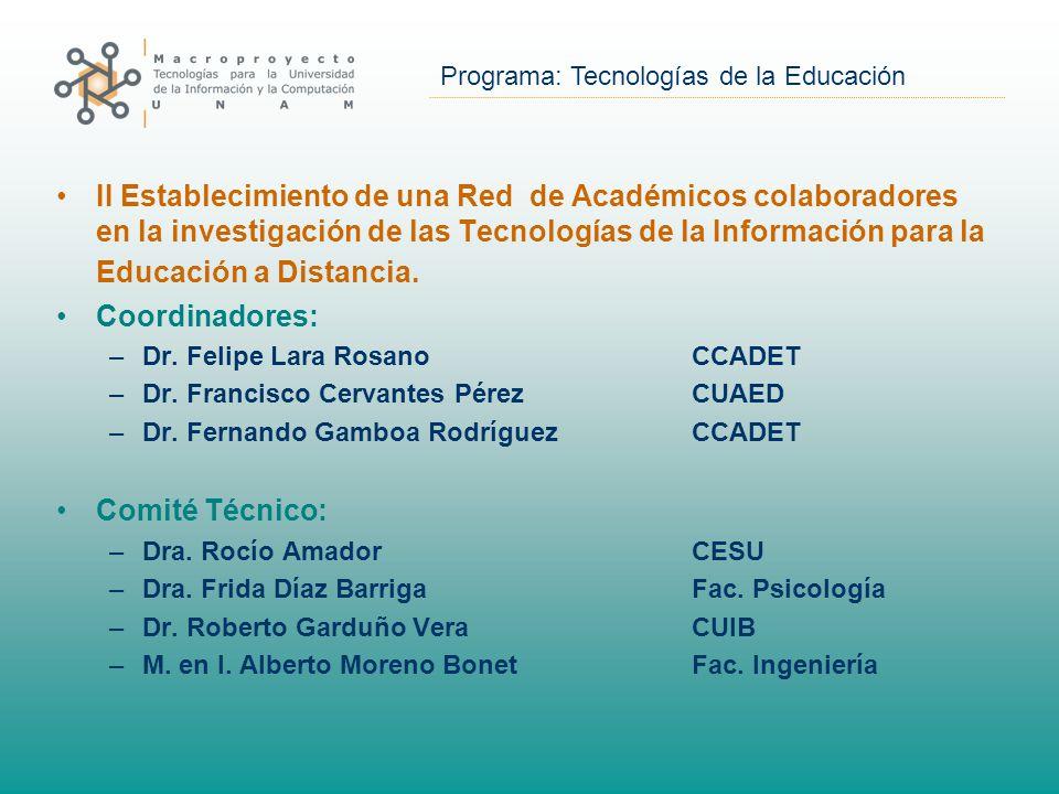 Programa: Tecnologías de la Educación II Establecimiento de una Red de Académicos colaboradores en la investigación de las Tecnologías de la Información para la Educación a Distancia.