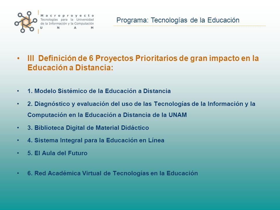 Programa: Tecnologías de la Educación III Definición de 6 Proyectos Prioritarios de gran impacto en la Educación a Distancia: 1.