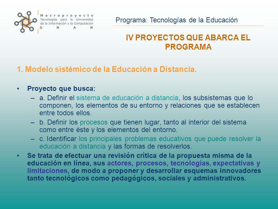 Programa: Tecnologías de la Educación 1. Modelo sistémico de la Educación a Distancia.