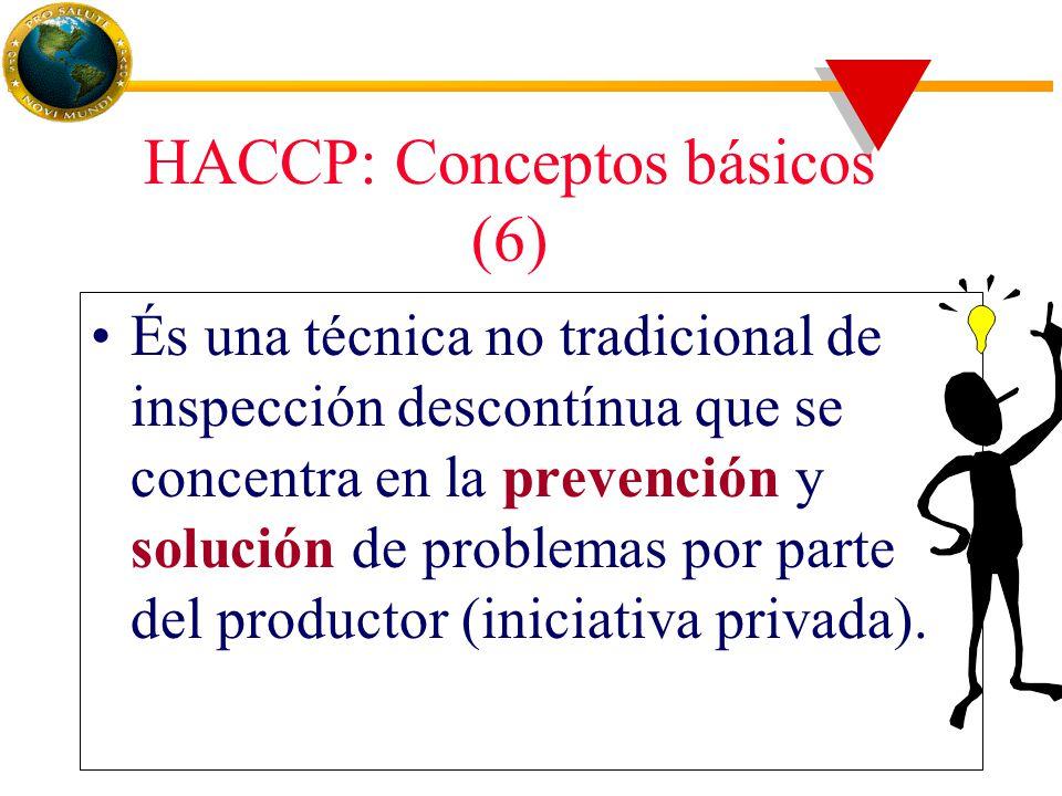 HACCP: Conceptos básicos (6) És una técnica no tradicional de inspección descontínua que se concentra en la prevención y solución de problemas por parte del productor (iniciativa privada).