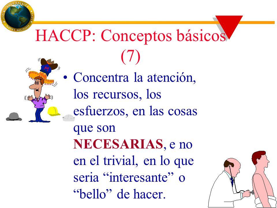 HACCP: Conceptos básicos (7) Concentra la atención, los recursos, los esfuerzos, en las cosas que son NECESARIAS, e no en el trivial, en lo que seria interesante o bello de hacer.