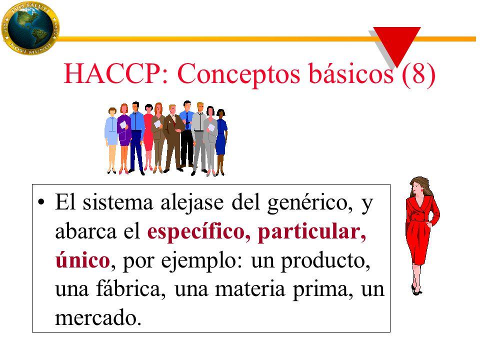 HACCP: Conceptos básicos (8) El sistema alejase del genérico, y abarca el específico, particular, único, por ejemplo: un producto, una fábrica, una materia prima, un mercado.