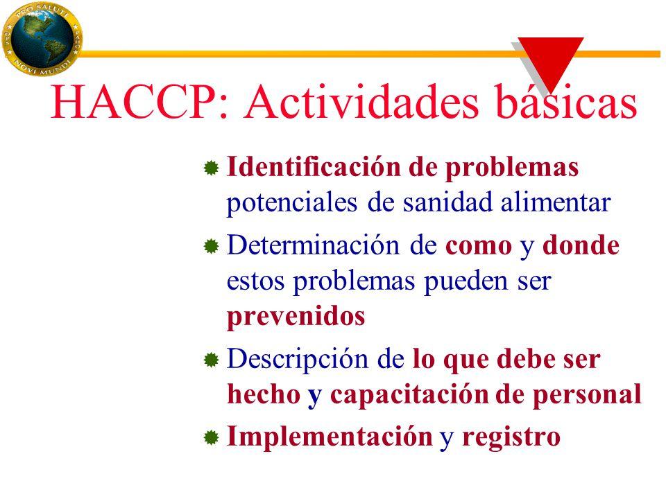 HACCP: Actividades básicas  Identificación de problemas potenciales de sanidad alimentar  Determinación de como y donde estos problemas pueden ser prevenidos  Descripción de lo que debe ser hecho y capacitación de personal  Implementación y registro