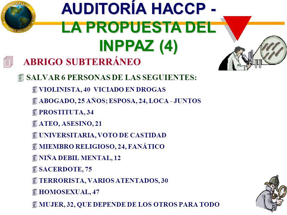 4 ABRIGO SUBTERRÁNEO 4SALVAR 6 PERSONAS DE LAS SEGUIENTES: 4VIOLINISTA, 40 VICIADO EN DROGAS 4ABOGADO, 25 AÑOS; ESPOSA, 24, LOCA - JUNTOS 4PROSTITUTA, 34 4ATEO, ASESINO, 21 4UNIVERSITARIA, VOTO DE CASTIDAD 4MIEMBRO RELIGIOSO, 24, FANÁTICO 4NIÑA DEBIL MENTAL, 12 4SACERDOTE, 75 4TERRORISTA, VARIOS ATENTADOS, 30 4HOMOSEXUAL, 47 4MUJER, 32, QUE DEPENDE DE LOS OTROS PARA TODO AUDITORÍA HACCP - LA PROPUESTA DEL INPPAZ (4)