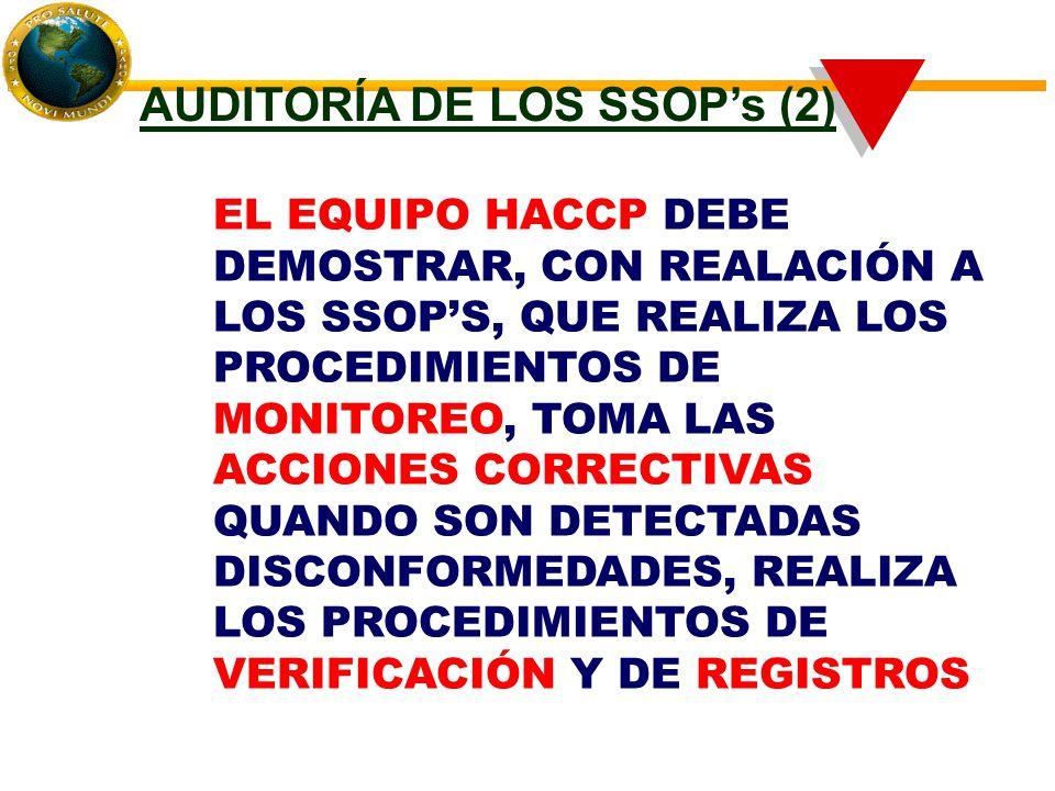 EL EQUIPO HACCP DEBE DEMOSTRAR, CON REALACIÓN A LOS SSOP'S, QUE REALIZA LOS PROCEDIMIENTOS DE MONITOREO, TOMA LAS ACCIONES CORRECTIVAS QUANDO SON DETECTADAS DISCONFORMEDADES, REALIZA LOS PROCEDIMIENTOS DE VERIFICACIÓN Y DE REGISTROS AUDITORÍA DE LOS SSOP's (2)