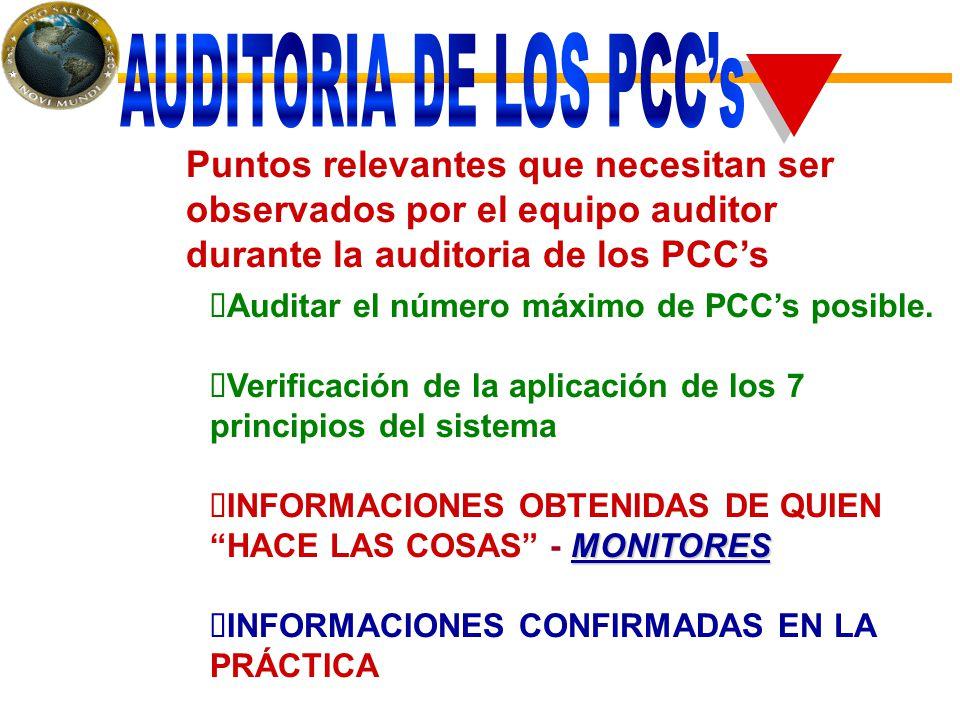 Puntos relevantes que necesitan ser observados por el equipo auditor durante la auditoria de los PCC's  Auditar el número máximo de PCC's posible.