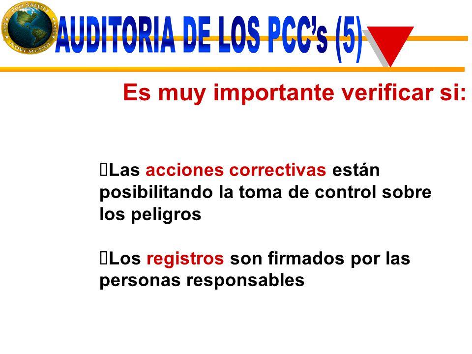 Es muy importante verificar si:  Las acciones correctivas están posibilitando la toma de control sobre los peligros  Los registros son firmados por las personas responsables