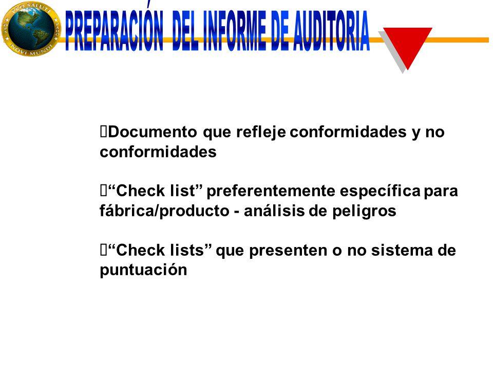 Documento que refleje conformidades y no conformidades  Check list preferentemente específica para fábrica/producto - análisis de peligros  Check lists que presenten o no sistema de puntuación
