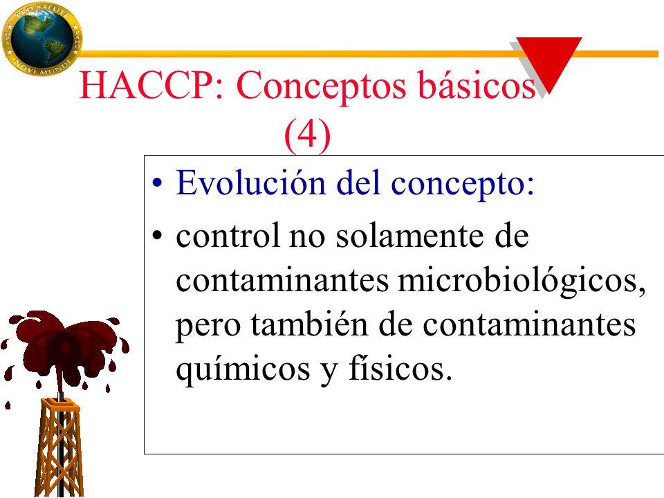 HACCP: Conceptos básicos (4) Evolución del concepto: control no solamente de contaminantes microbiológicos, pero también de contaminantes químicos y físicos.