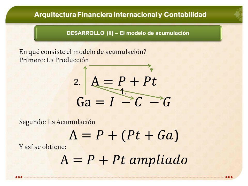 Arquitectura Financiera Internacional y Contabilidad DESARROLLO (II) – El modelo de acumulación 1.