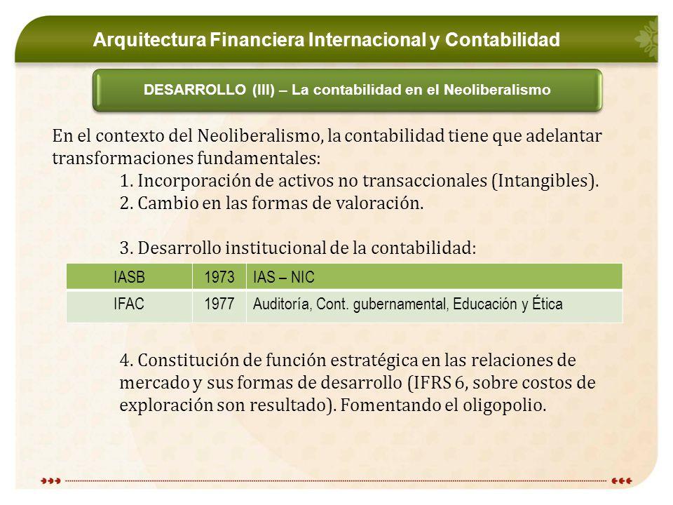 DESARROLLO (III) – La contabilidad en el Neoliberalismo En el contexto del Neoliberalismo, la contabilidad tiene que adelantar transformaciones fundamentales: 1.