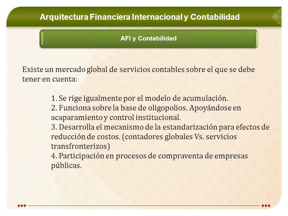 Arquitectura Financiera Internacional y Contabilidad AFI y Contabilidad Existe un mercado global de servicios contables sobre el que se debe tener en cuenta: 1.